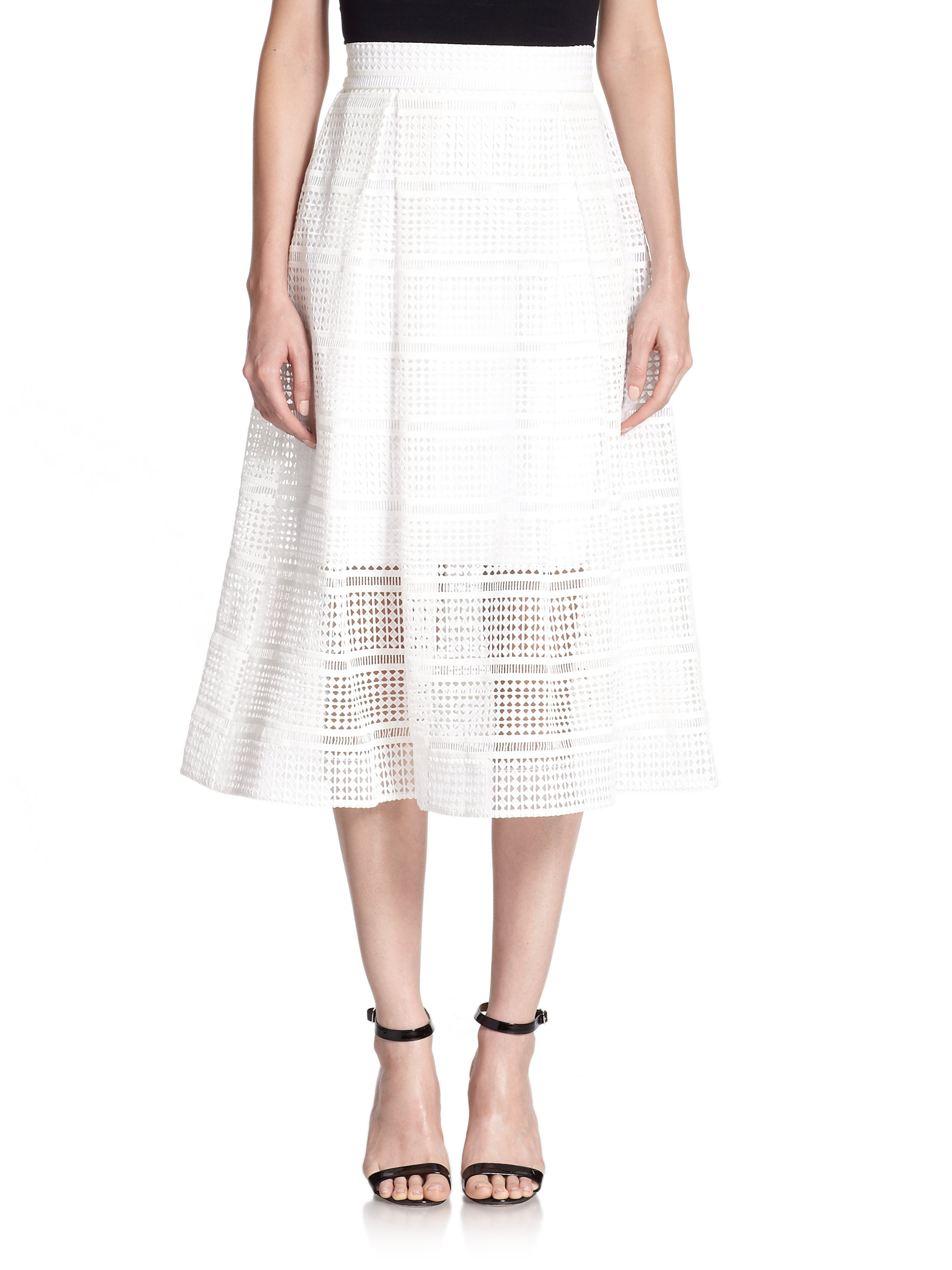 Nicholas Geometric Lace A-line Skirt in White | Lyst