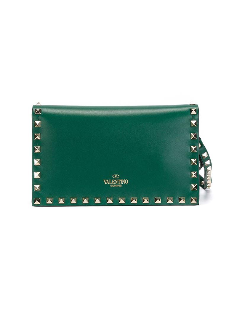 Valentino Rockstud Clutch In Green Lyst