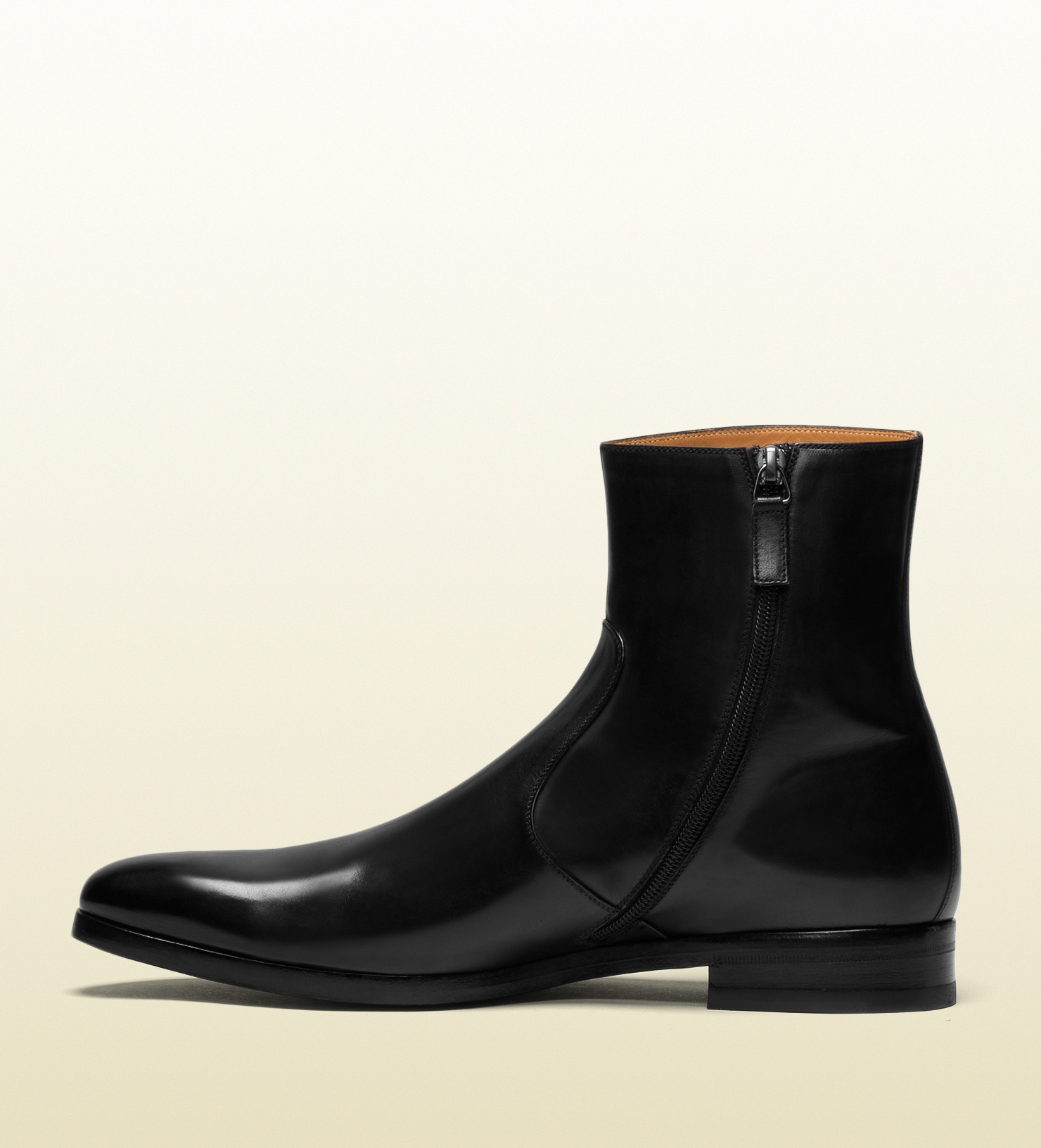 gucci leather boot in black for men lyst
