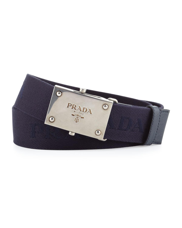 Prada Webbed Logo Plaque Belt in Blue for Men | Lyst