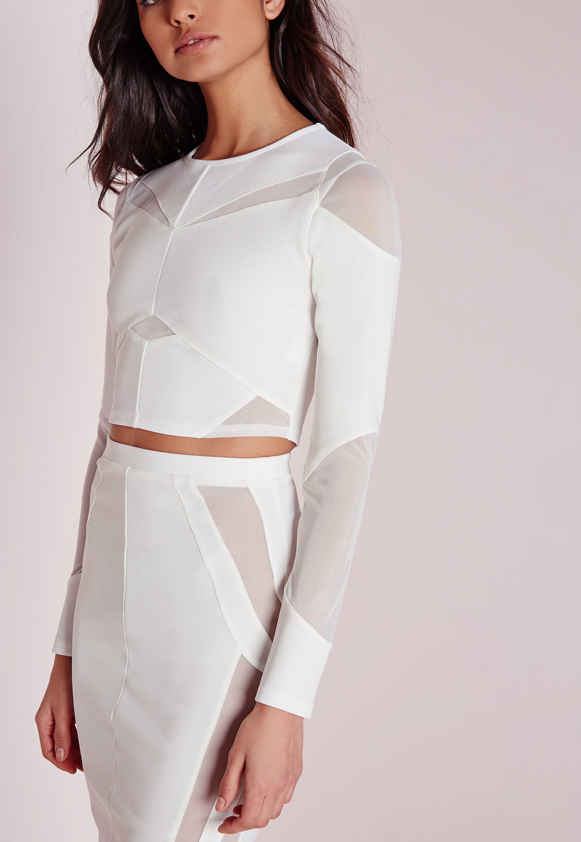 Missguided Mesh Panelled Long Sleeve Crop Top White in ...