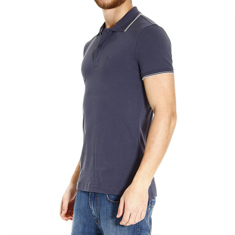 Giorgio Armani Blue T Shirt Polo Half Sleeve Piquet