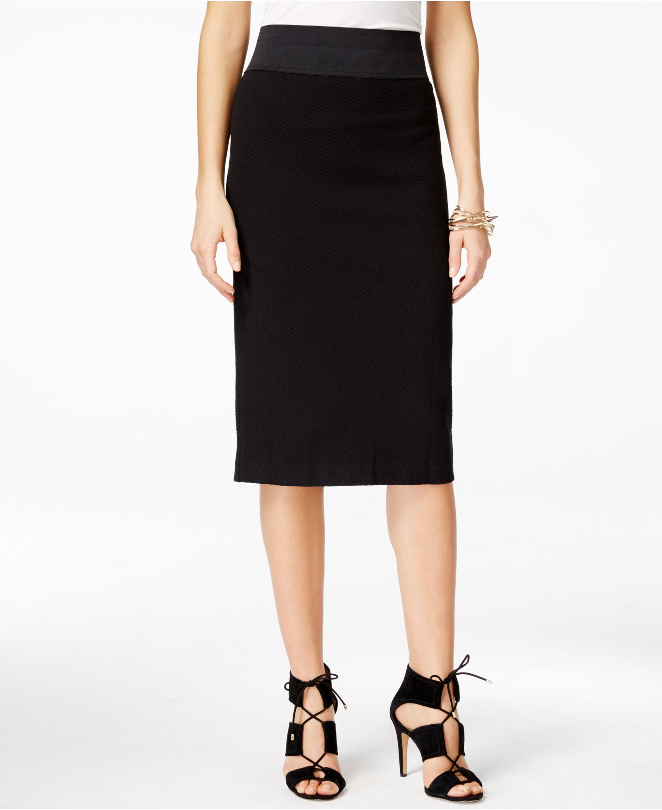inc international concepts pull on textured pencil skirt