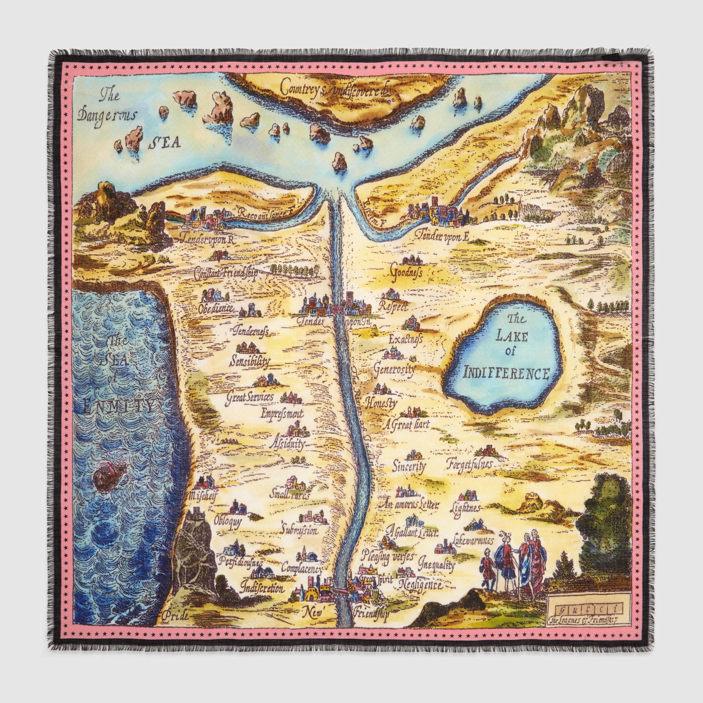 Gucci 'carte De Tendre' Map Print Wool-silk Scarf in ...