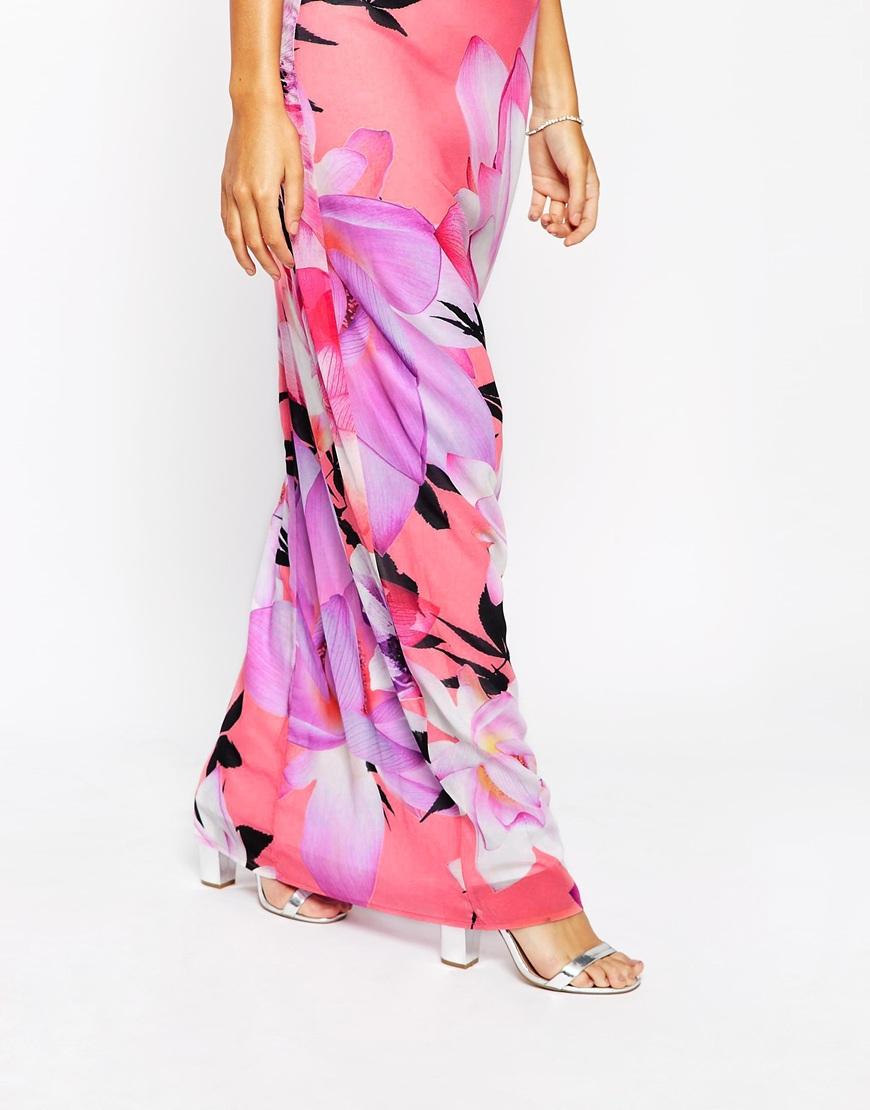 Lyst - Lipsy Large Floral Chiffon Maxi Dress