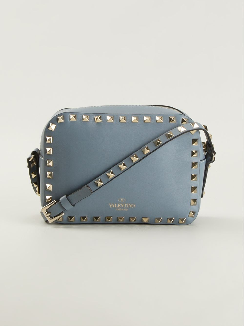 9b2ade5c6 Valentino Rockstud Cross Body Bag in Blue - Lyst