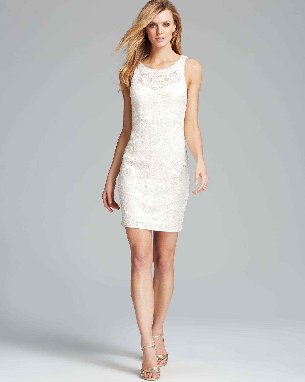 Sue Wong Dress Sleeveless Soutache In Ivory White Lyst