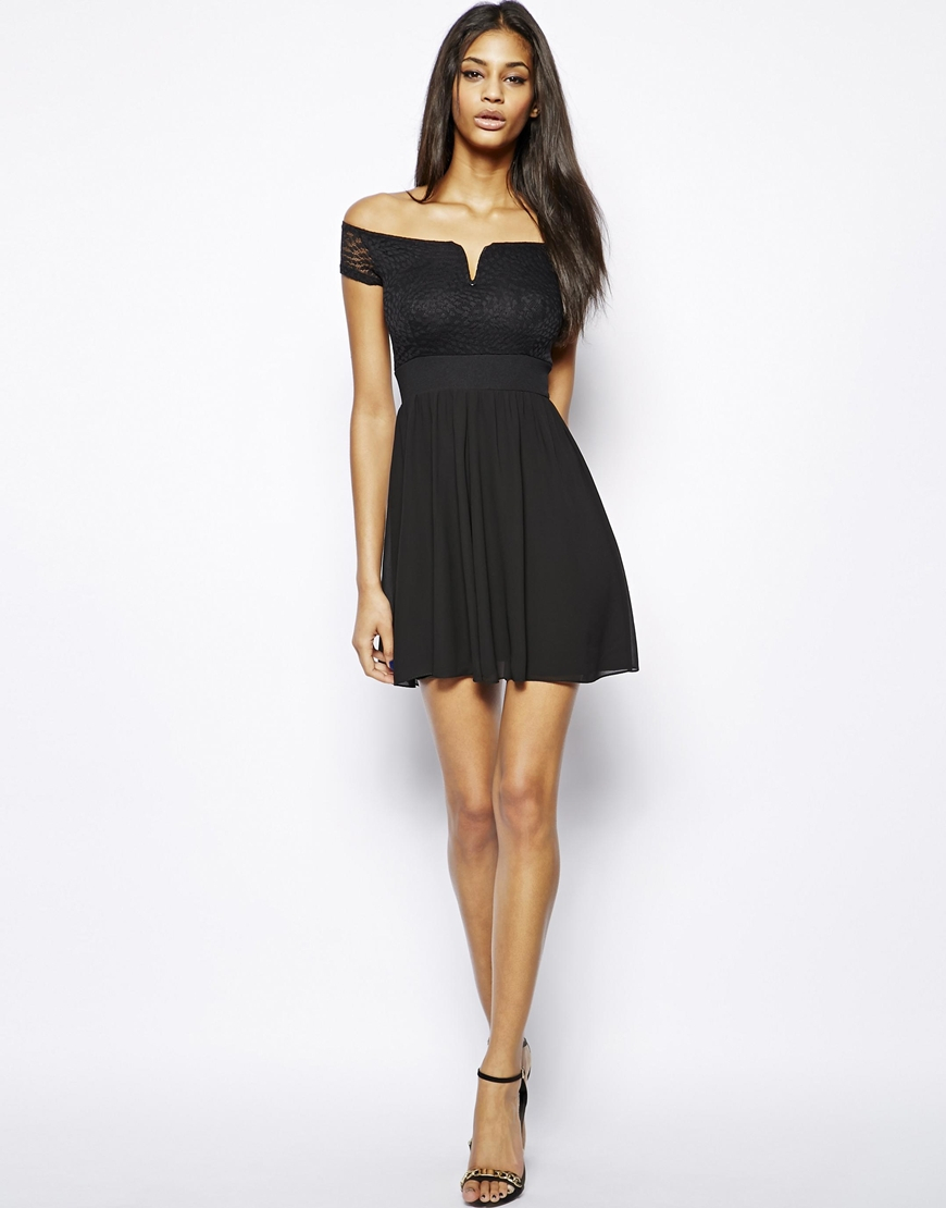 77235e5c71b4 Lyst - TFNC London Bardot Off Shoulder Dress In Chiffon And Lace in ...