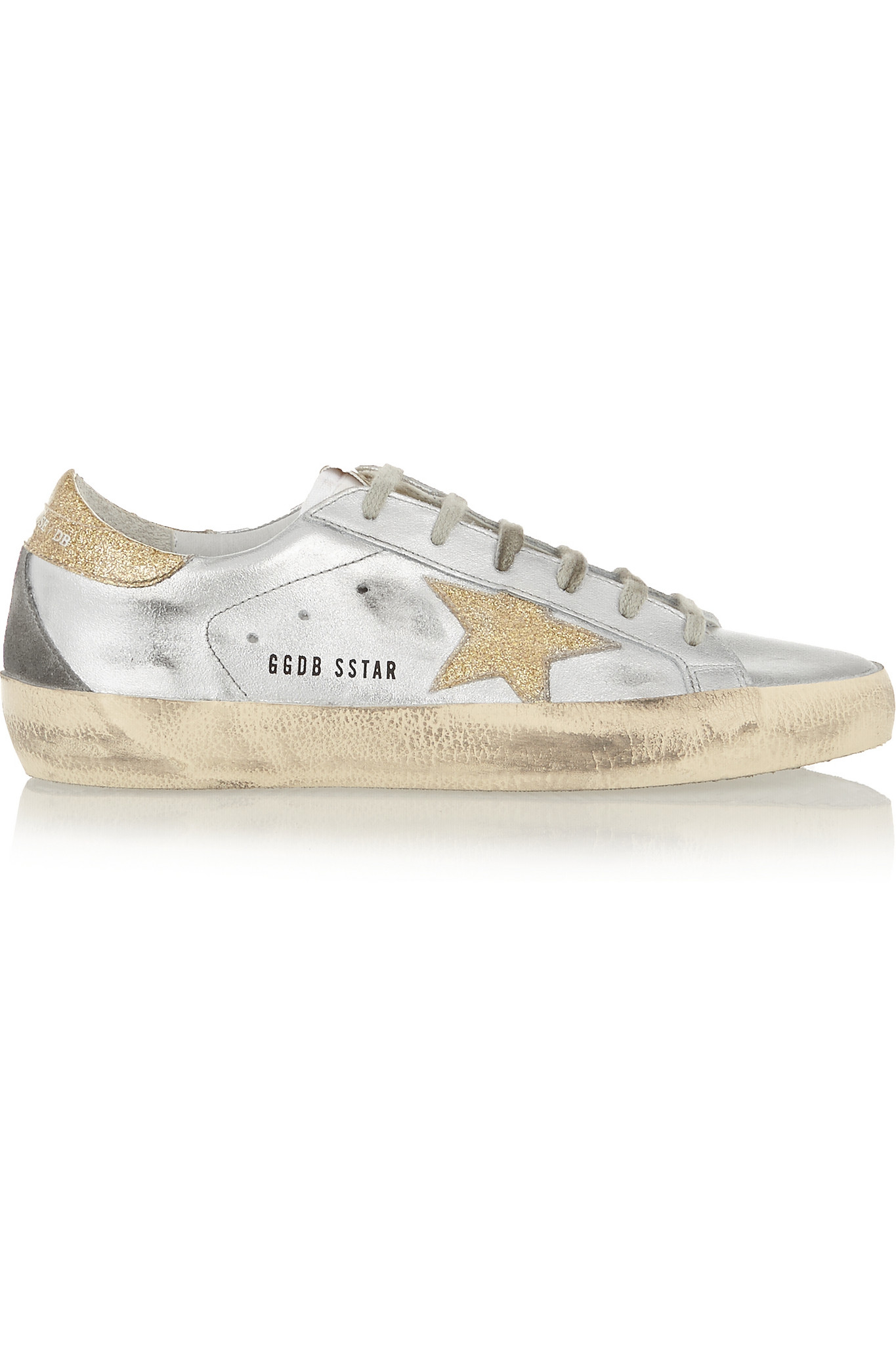 Superstar Glittered Distressed Leather Sneakers - Silver Golden Goose 1D8N7WsM