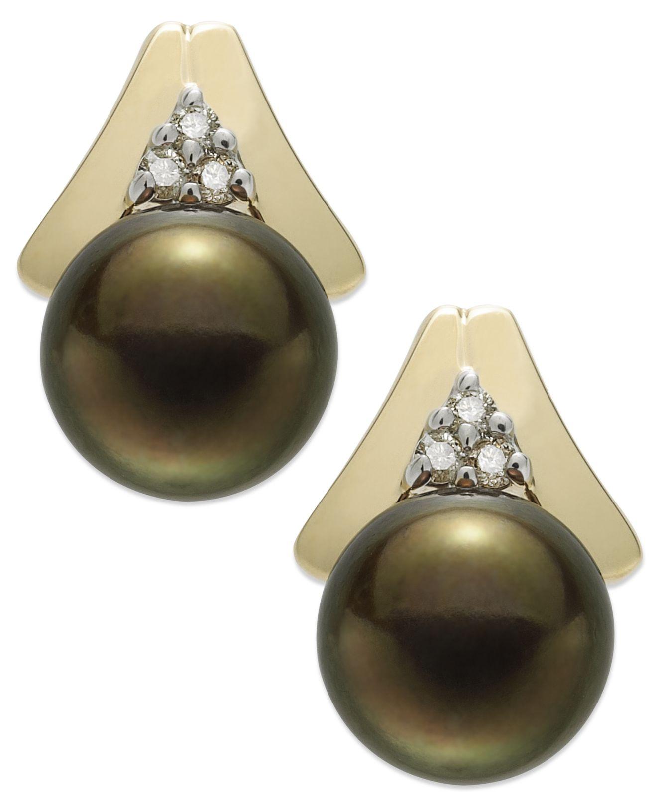 Macy S 14k Gold Earrings Brown Cultured Tahitian Pearl 8 5mm