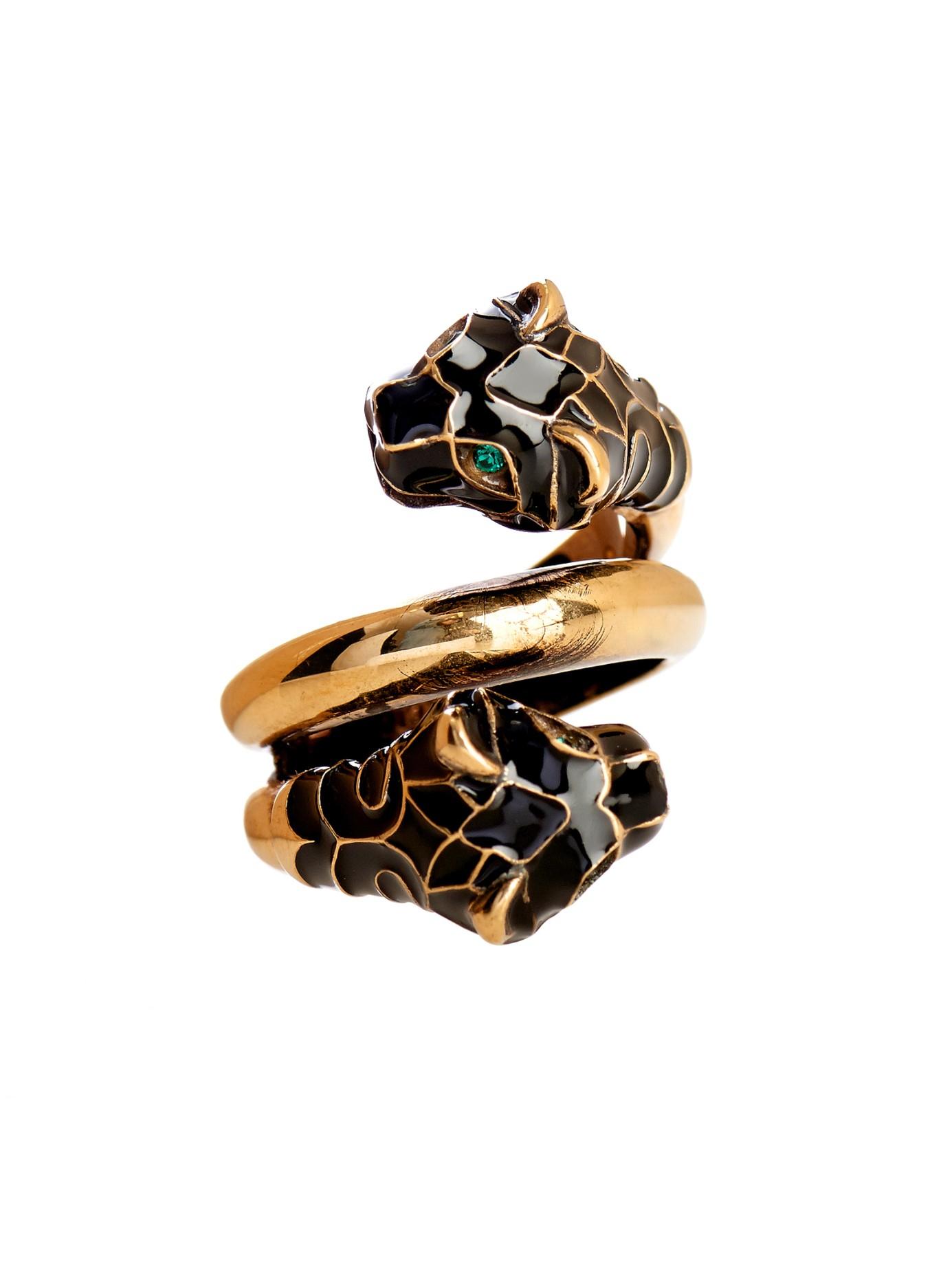 074c49459 Gucci Tiger Swarovski Crystal Ring in Black - Lyst