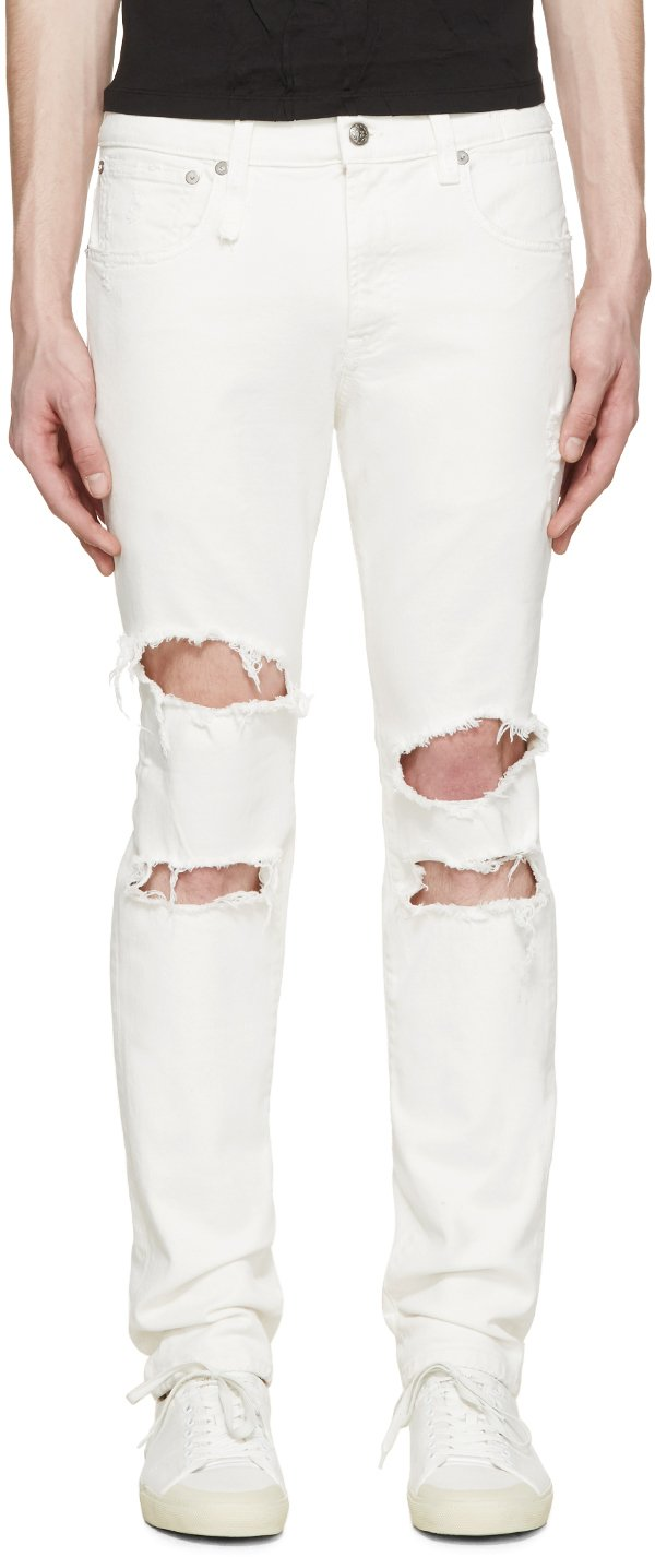 R13 White Shredded Skate Jeans in White for Men | Lyst