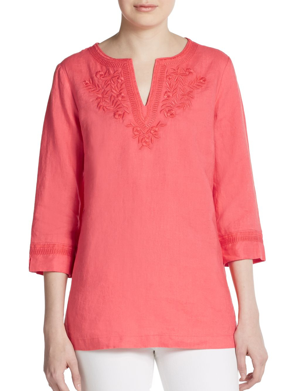 Lyst Ellen Tracy Embroidered Linen Tunic In Pink