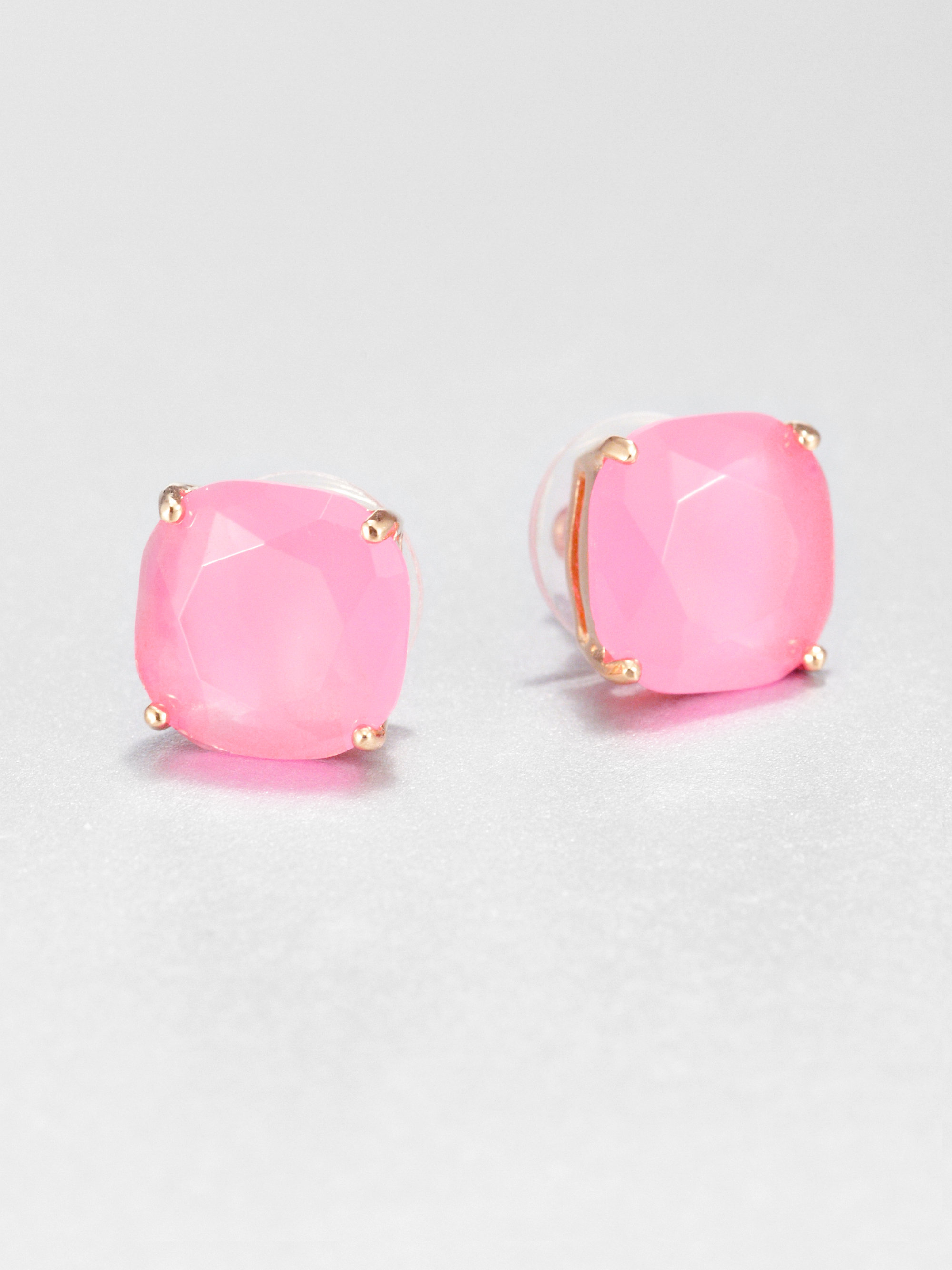 Kate spade new york Faceted Square Stud Earrings in Pink | Lyst