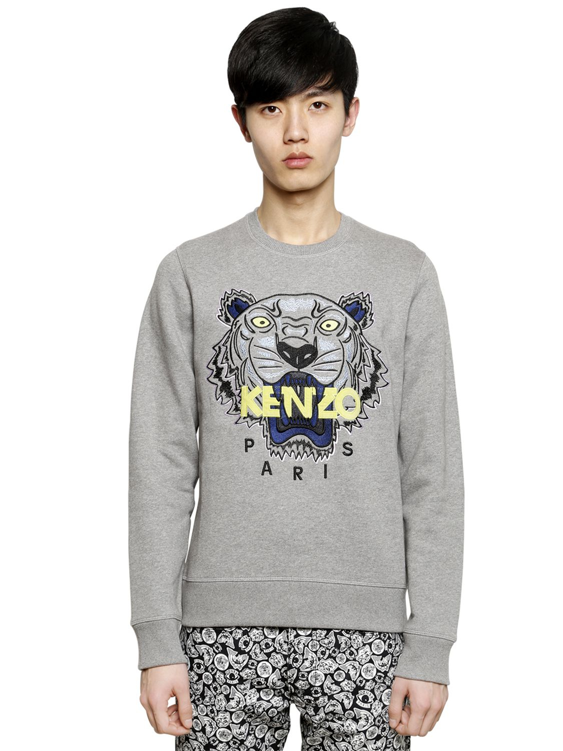 9cb2cd0271 KENZO Gray Tiger Embroidered Cotton Sweatshirt for men