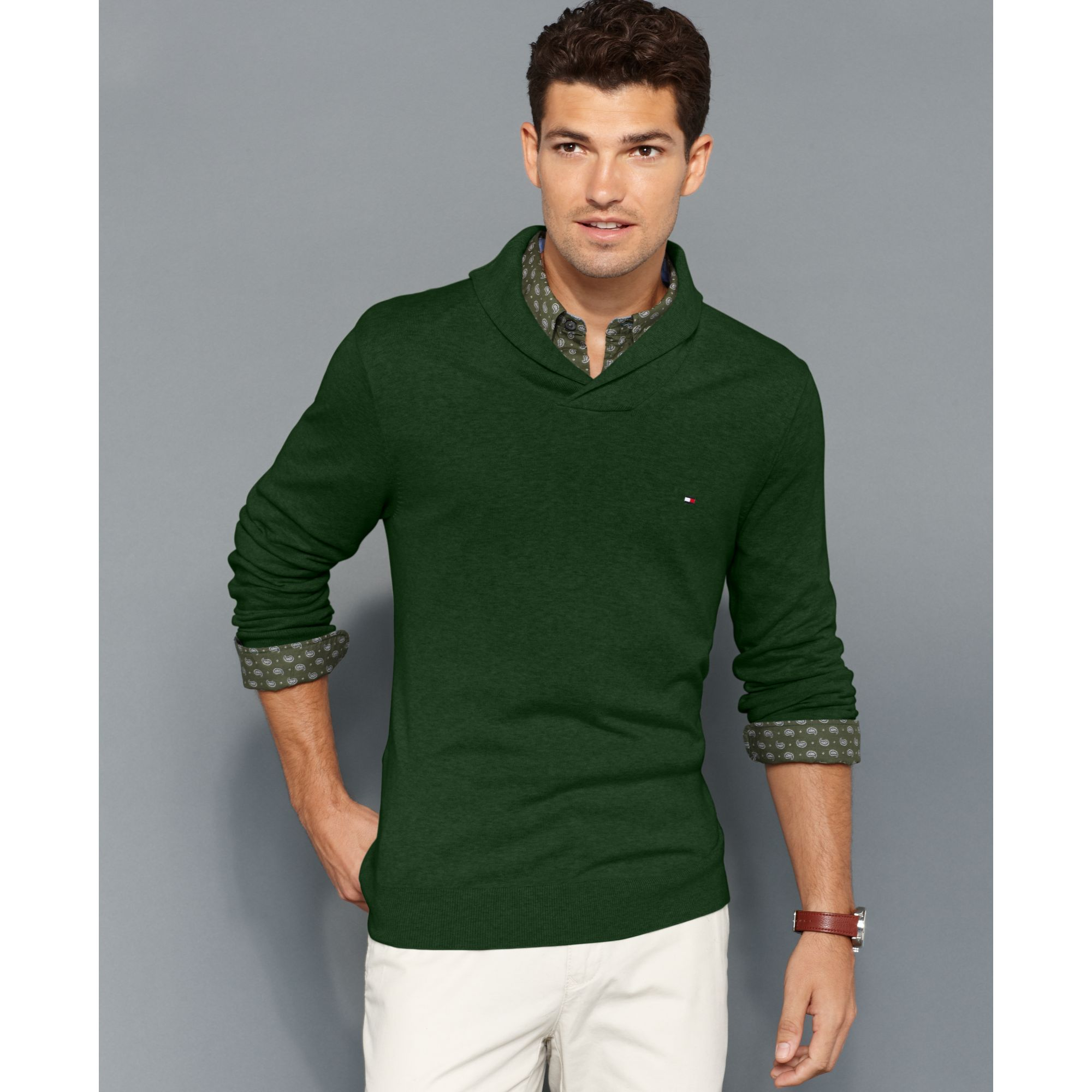 tommy hilfiger american shawl collar sweater in green for men lyst. Black Bedroom Furniture Sets. Home Design Ideas