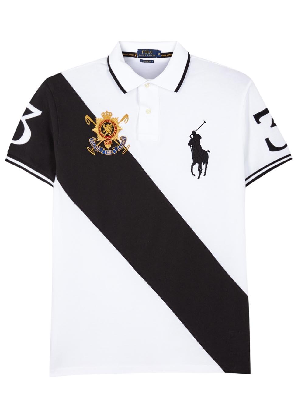 Polo ralph lauren black watch piqu cotton polo shirt for Black cotton polo shirt