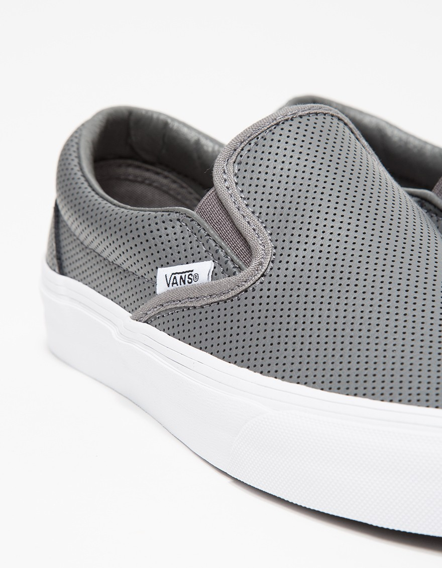 9556a5d6a14f2e Lyst - Vans Classic Slip-on Perf Leather in Gray