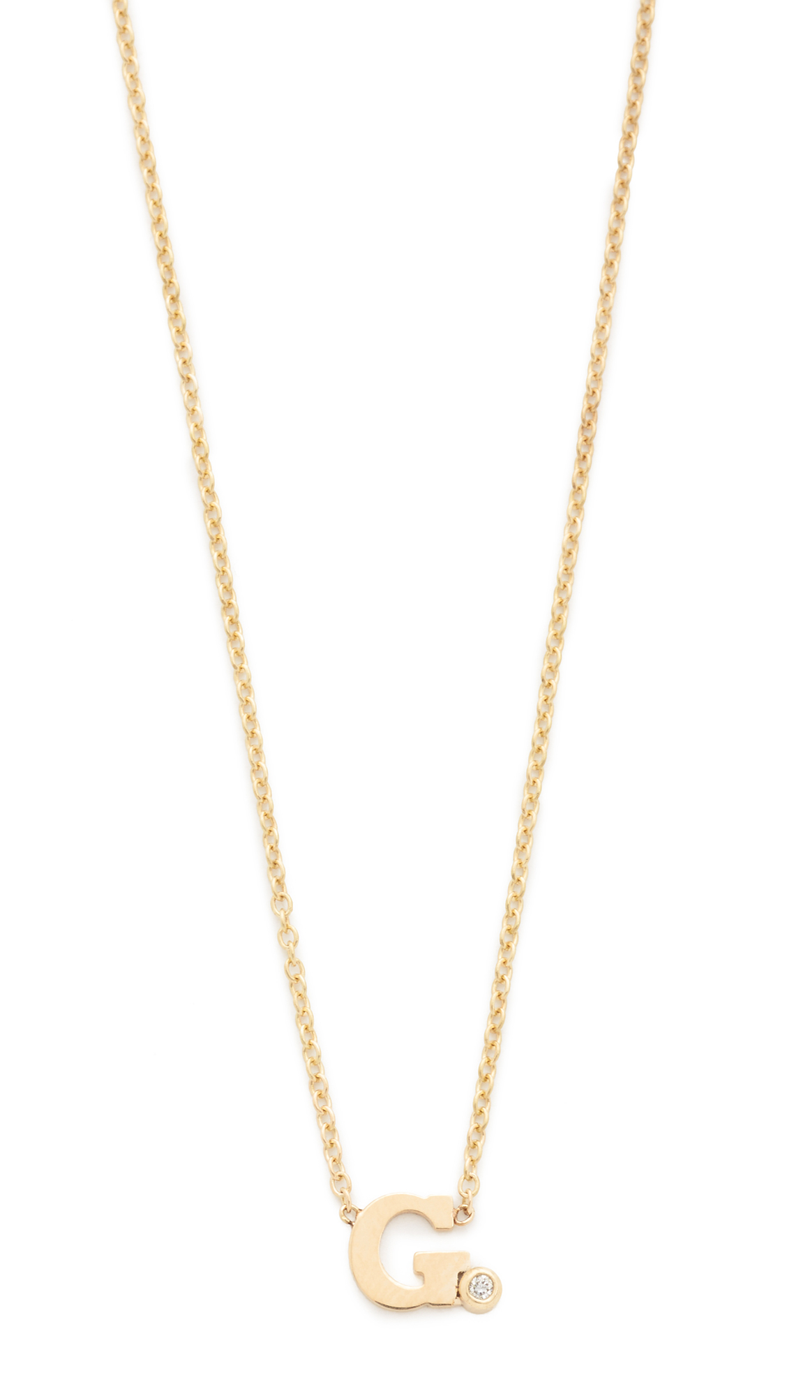 zoe chicco initial diamond necklace in metallic lyst With zoe chicco letter necklace