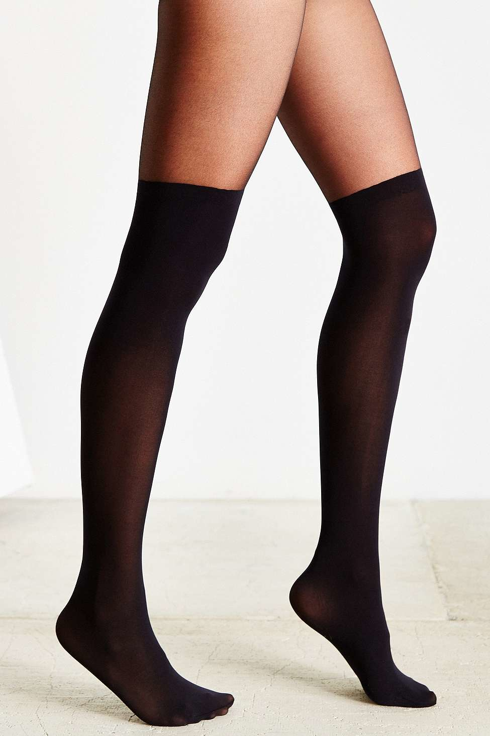 67486cdf92b Urban Outfitters Super High Faux Thigh High Tights in Black - Lyst
