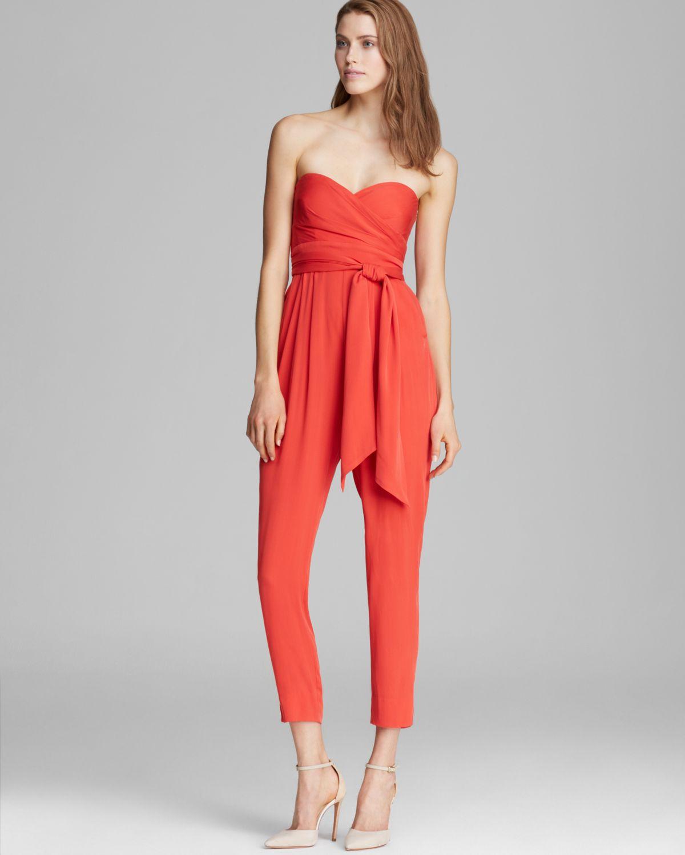 Lyst - Catherine Malandrino Jumpsuit Effie Strapless in Red