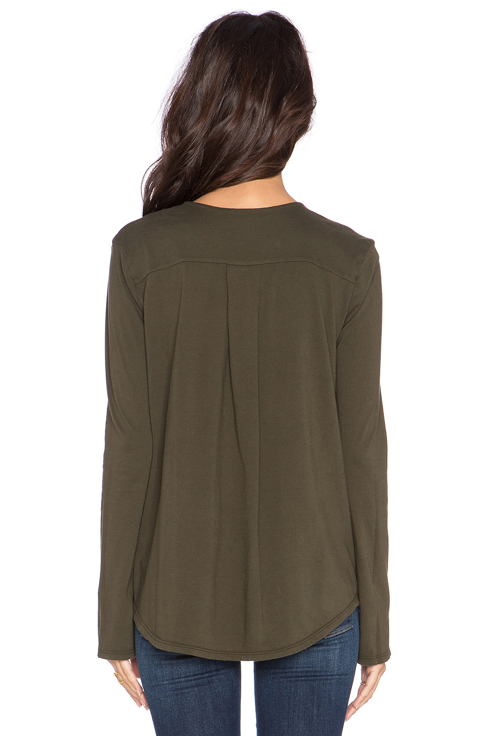 James perse open henley top in green lyst for James perse henley shirt