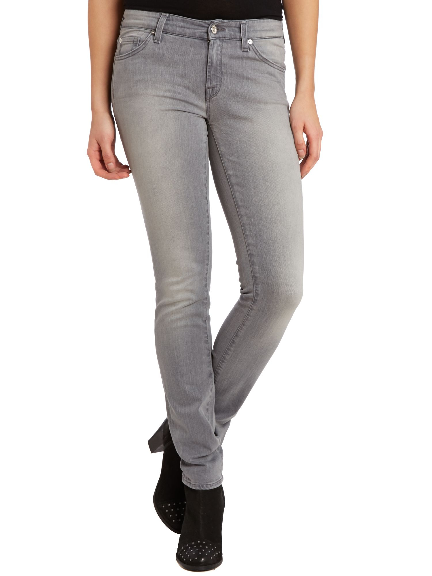 7 for all mankind cristen skinny jeans in smokey grey in. Black Bedroom Furniture Sets. Home Design Ideas