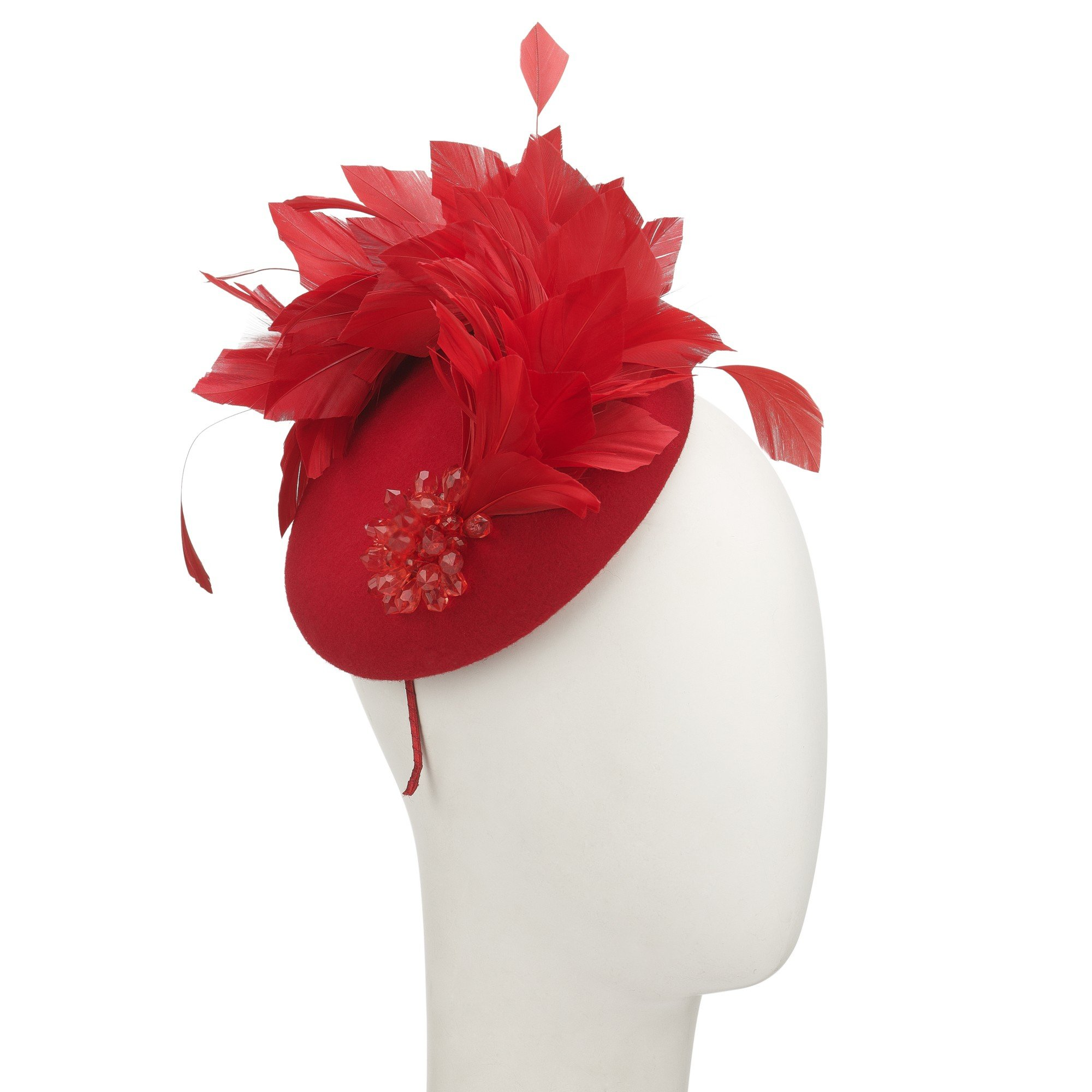 John Lewis Tia Beaded Feather Pillbox Fascinator in Red - Lyst 2c7e5cb020d