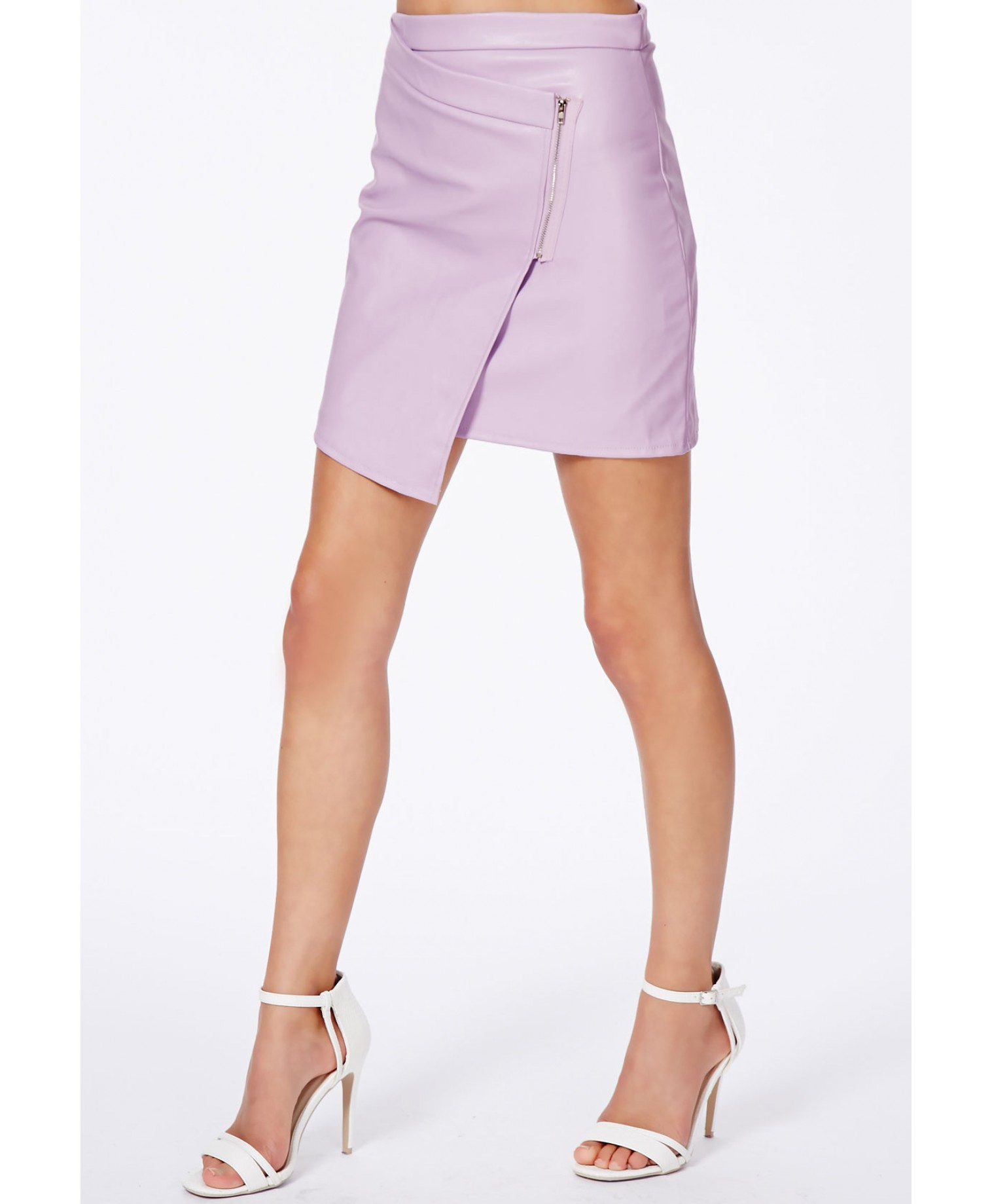 Missguided Taqara Lilac Wrap Over Mini Skirt in Purple | Lyst