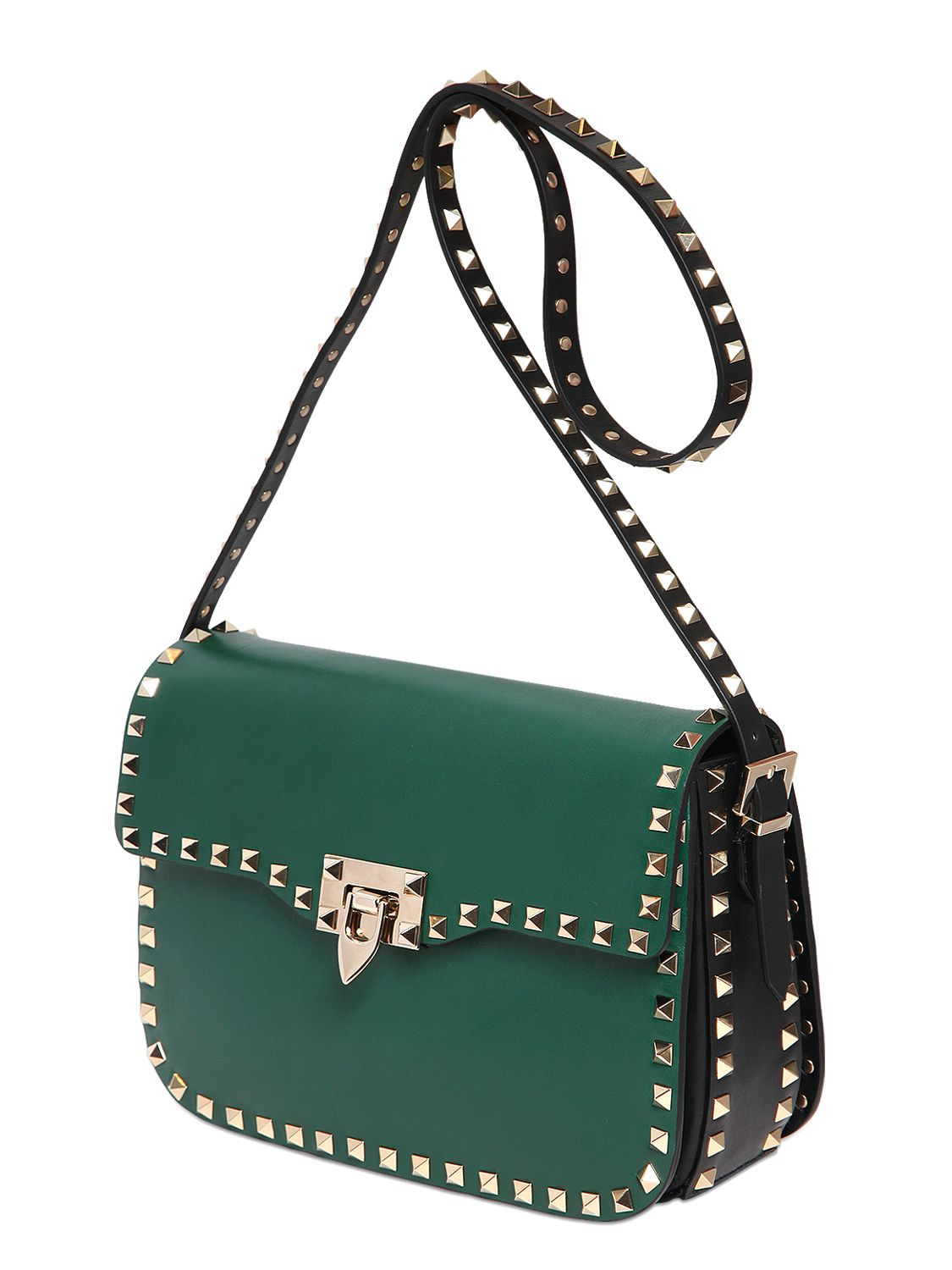 Valentino Rockstud Two Tone Leather Shoulder Bag in Green | Lyst
