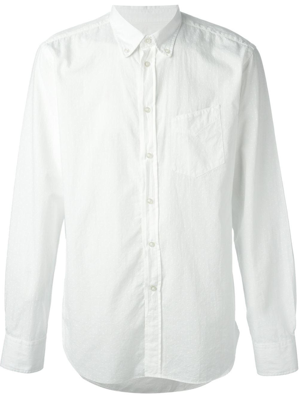 Officine generale polka dot button down shirt in white for for Button down polka dot shirt