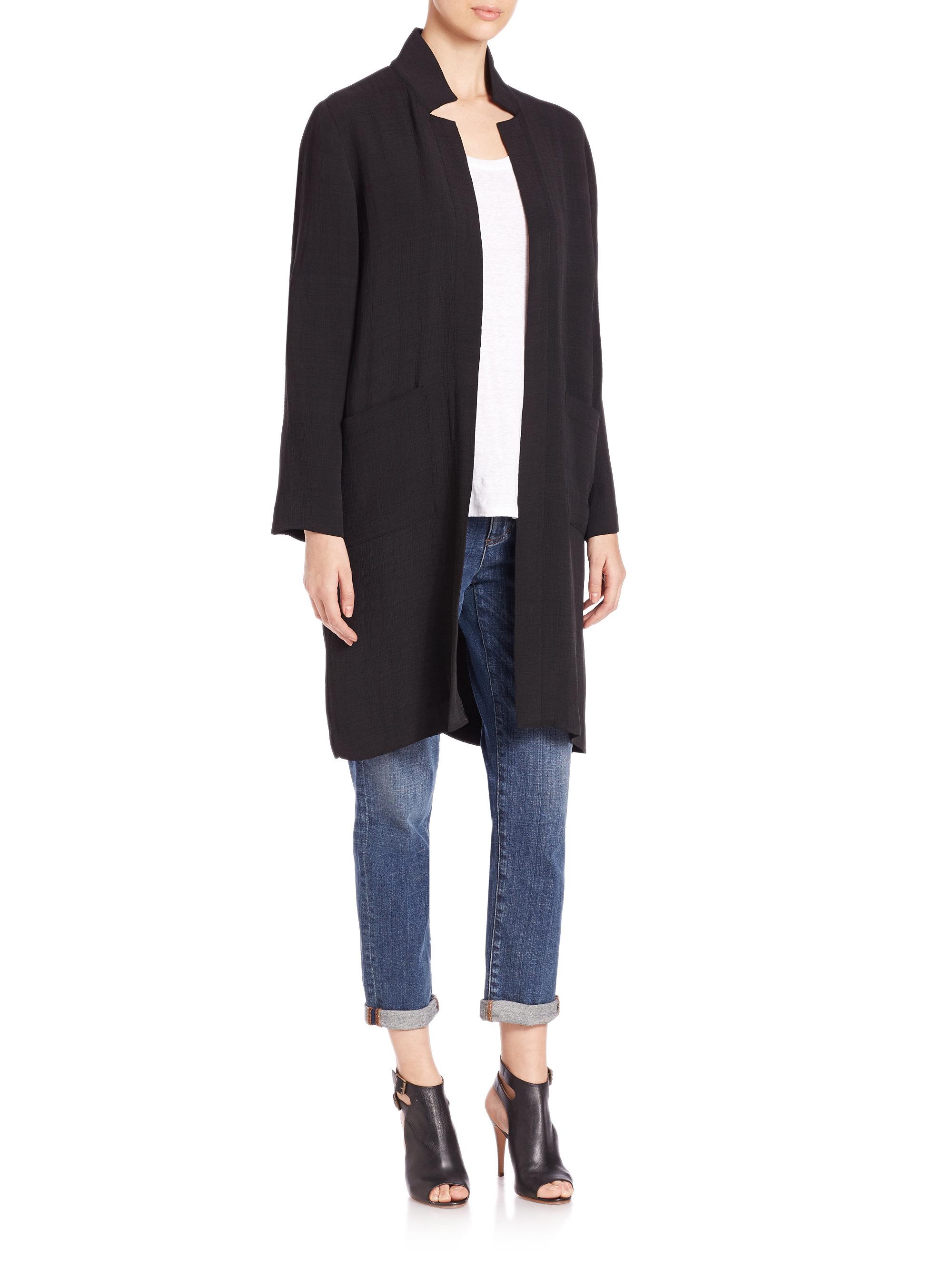 Eileen Fisher Silk Blend Sponge Jacket In Black Lyst