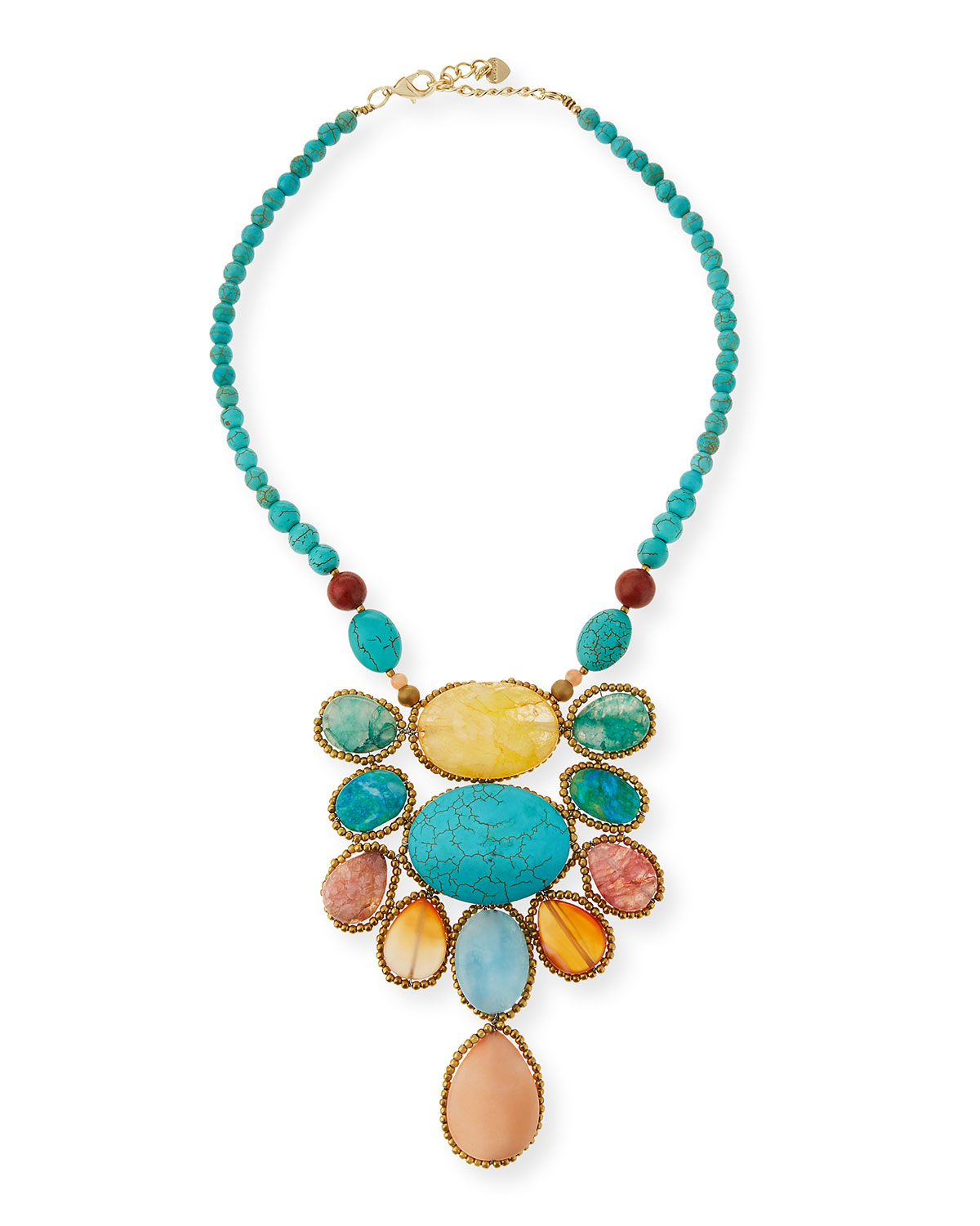 nakamol turquoise magnesite agate statement necklace in