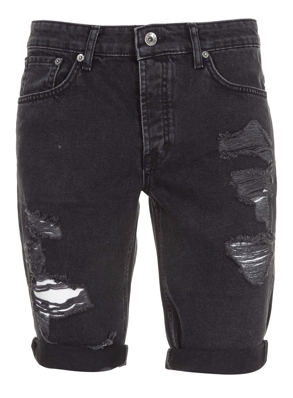 lac bk ripped denim shorts in black for men lyst