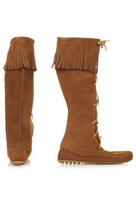 TOPSHOP Minnetonka Knee Boots in Tan (Brown)