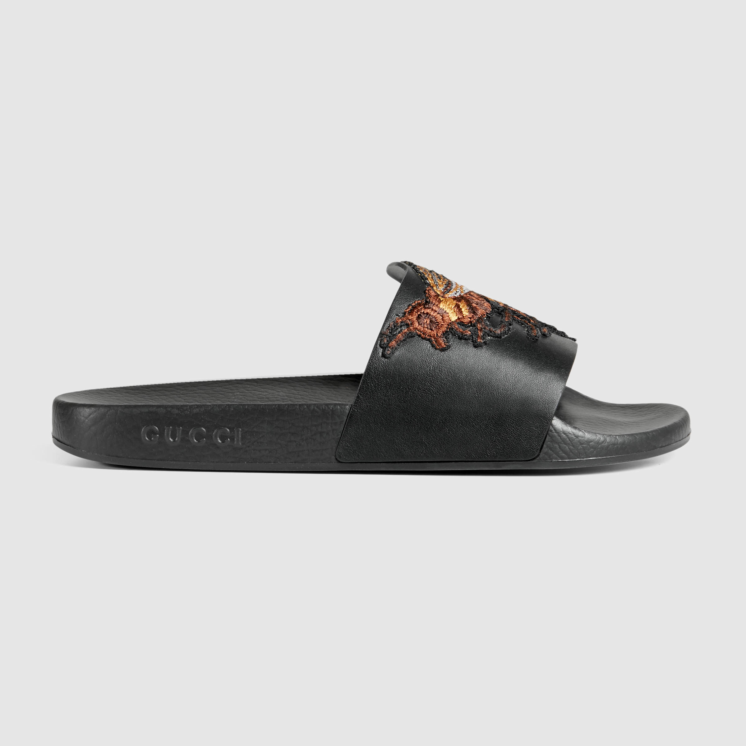 07146bb76aab Gucci Leather Sandal With Bee in Black for Men - Lyst