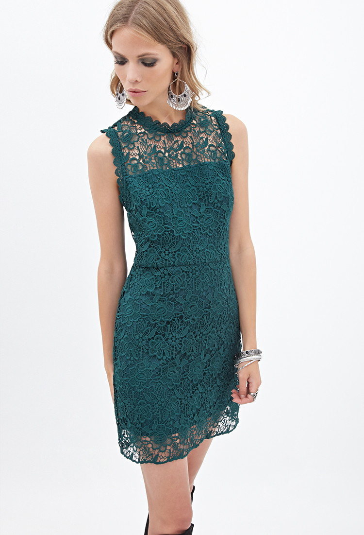lyst forever 21 floral lace dress in green
