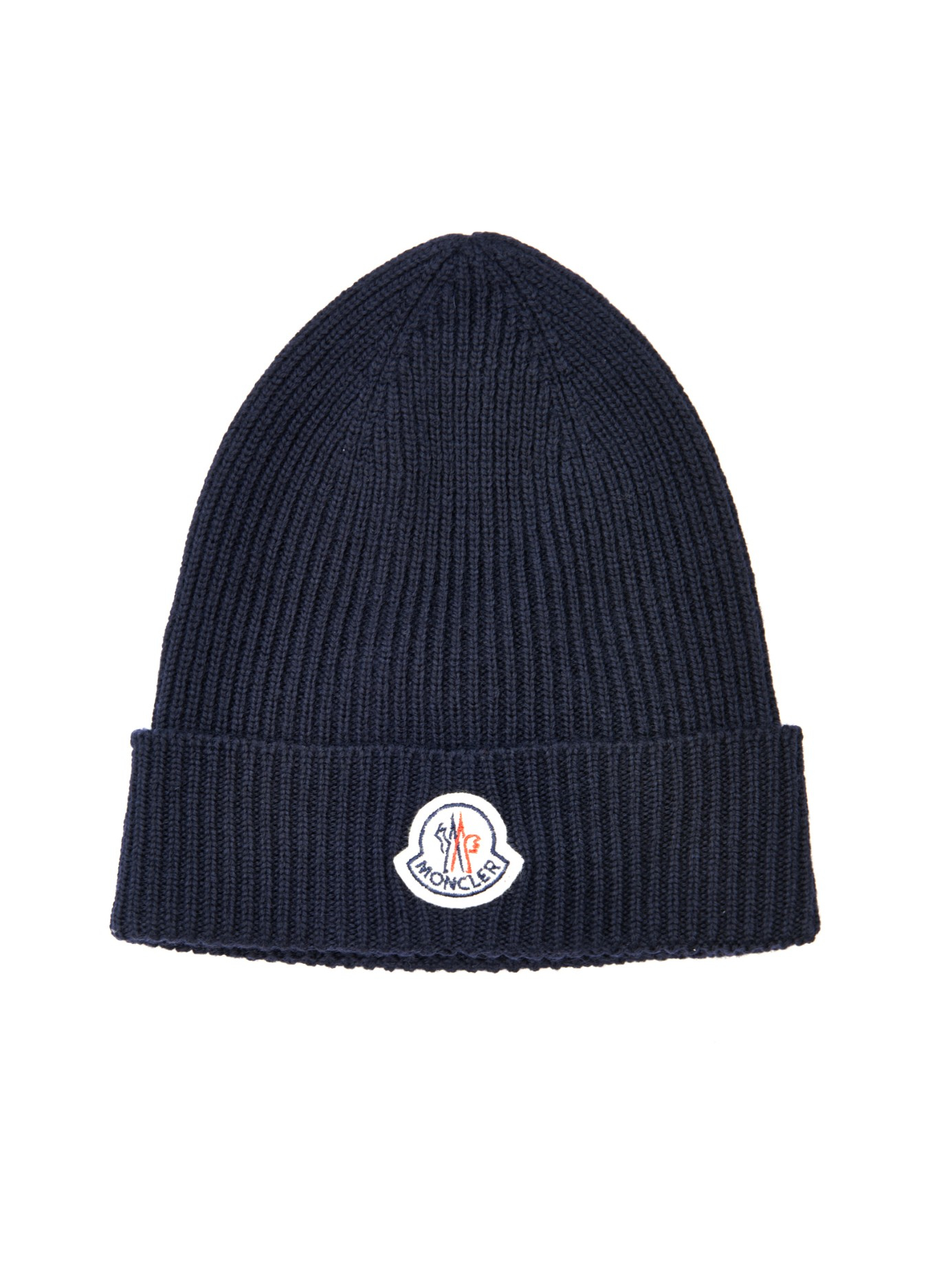 74922d3f2 Moncler Blue Ribbed-Knit Wool Beanie Hat for men