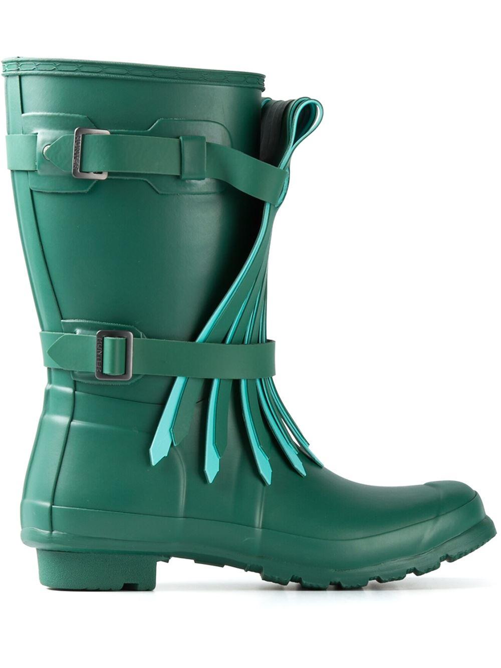 Hunter Short Fringe Rain Boots In Green Lyst
