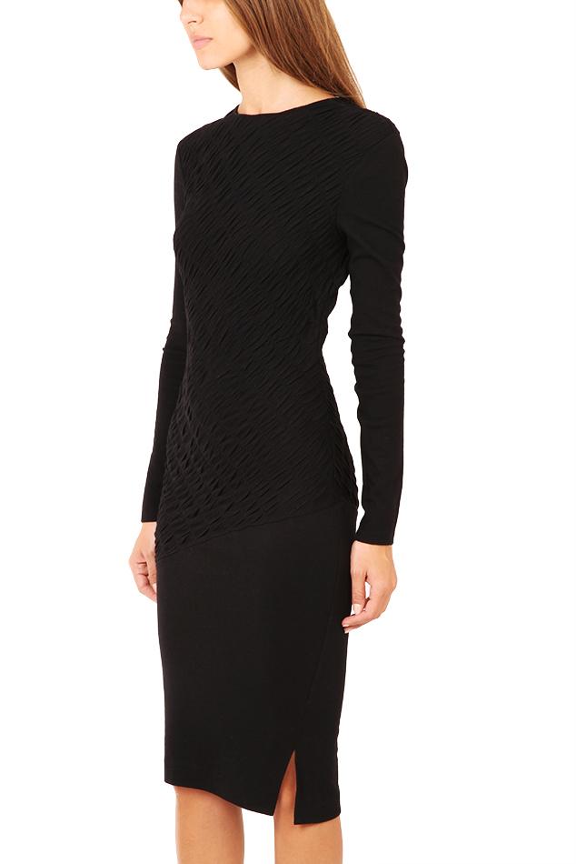 10 Crosby Derek Lam Long Sleeve Ruched Dress In Black Lyst