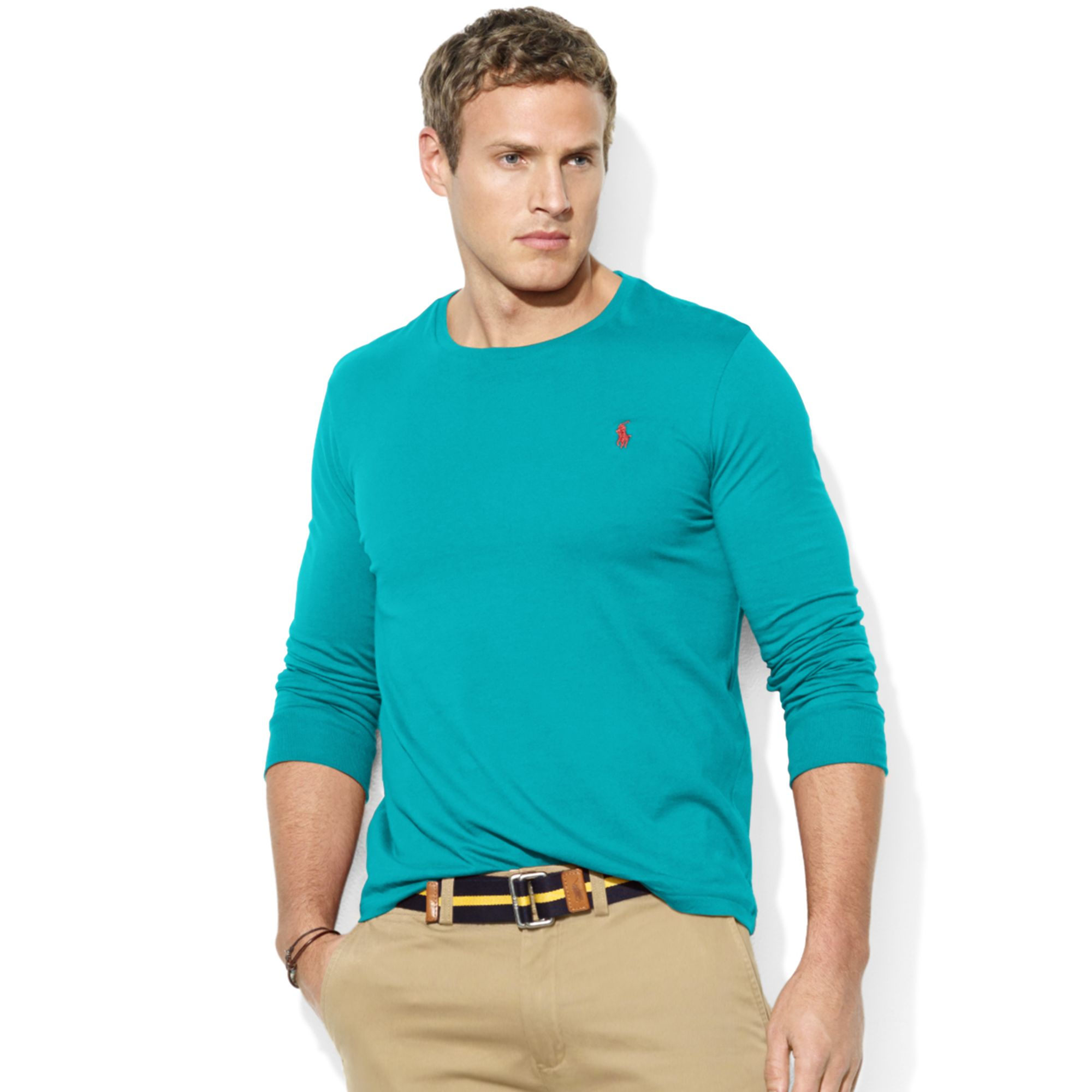 Ralph lauren classic fit long sleeve pocket crew neck for Polo t shirts with pockets