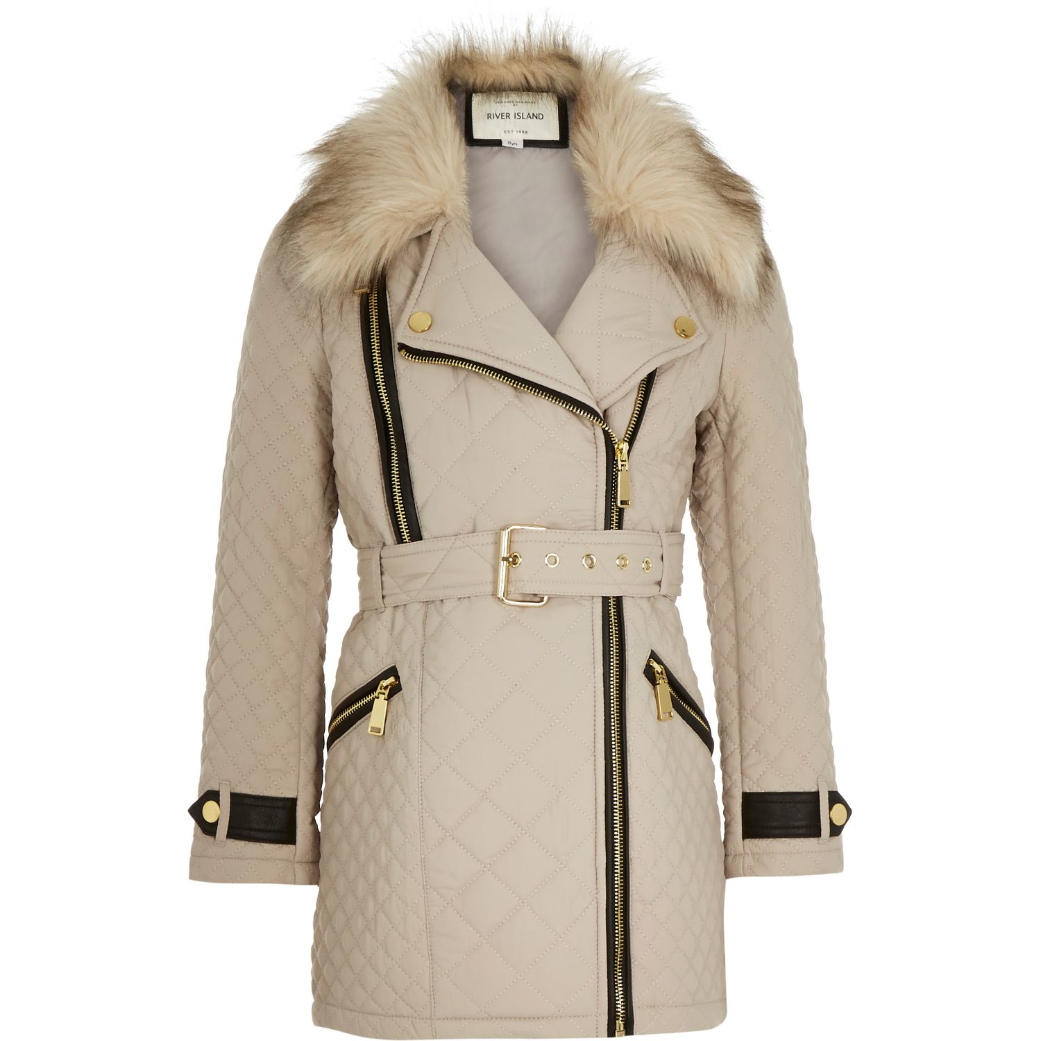 River Island Girls Cream Quilted Belted Jacket In Beige