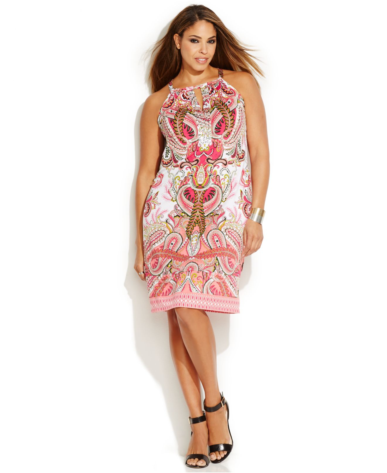 Plus Size Printed Keyhole Halter Dress