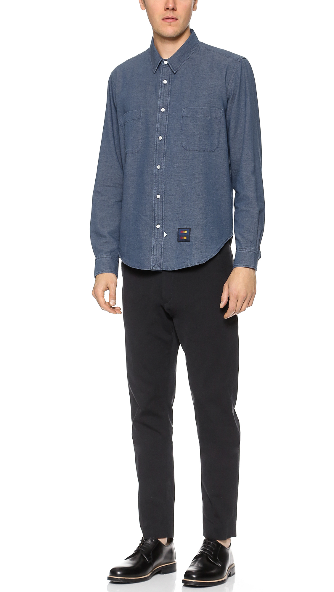 Lyst sidian ersatz vanes marled chambray shirt in for Chambray 7 s