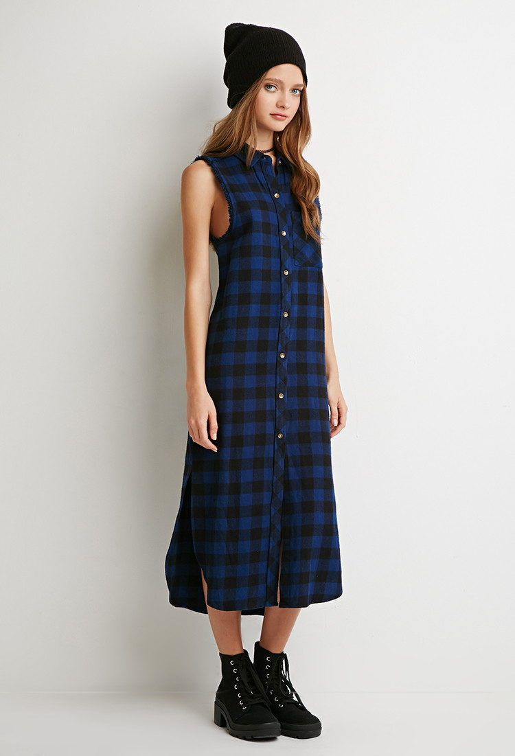 Lyst forever 21 raw cut flannel shirt dress in blue for Flannel shirts for womens forever 21