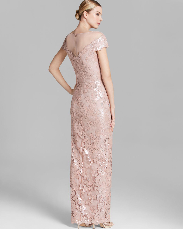 18e8fe95b2f Lyst - Tadashi Shoji Shoji Gown Illusion Neckline Sequin Lace in Pink