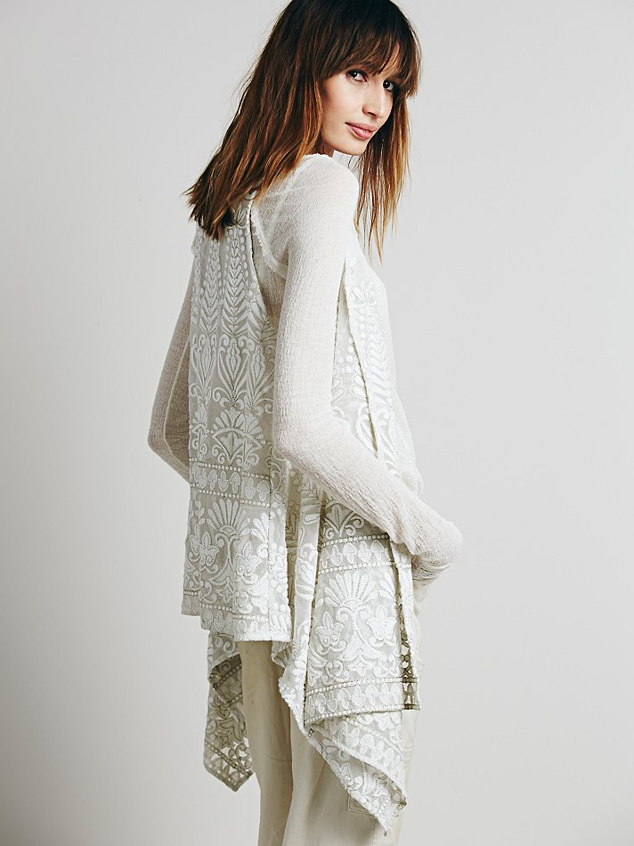 Free people florence embroidered vest in white lyst