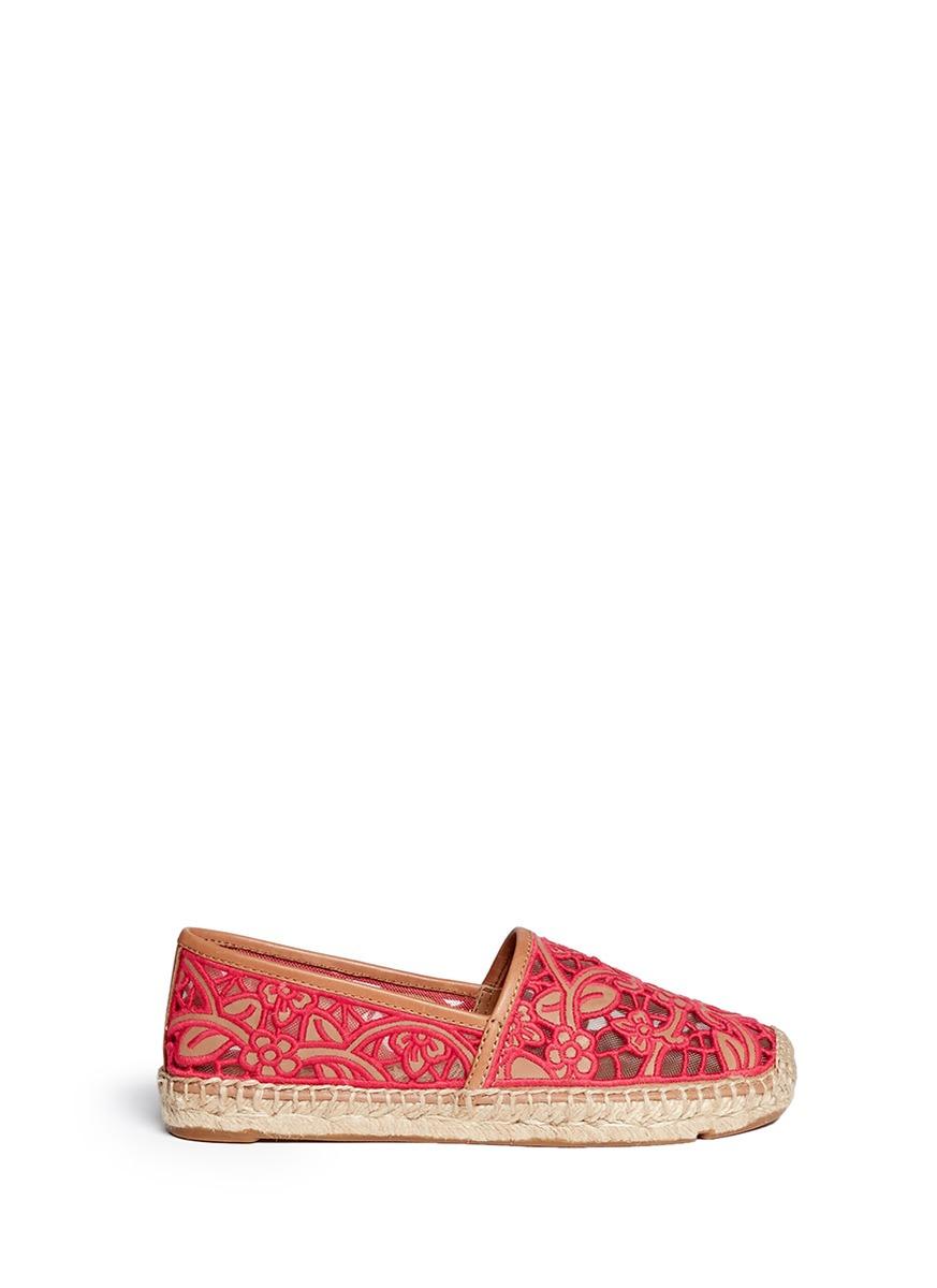 ae56da76538f Lyst - Tory Burch  lucia  Lace Espadrilles in Pink