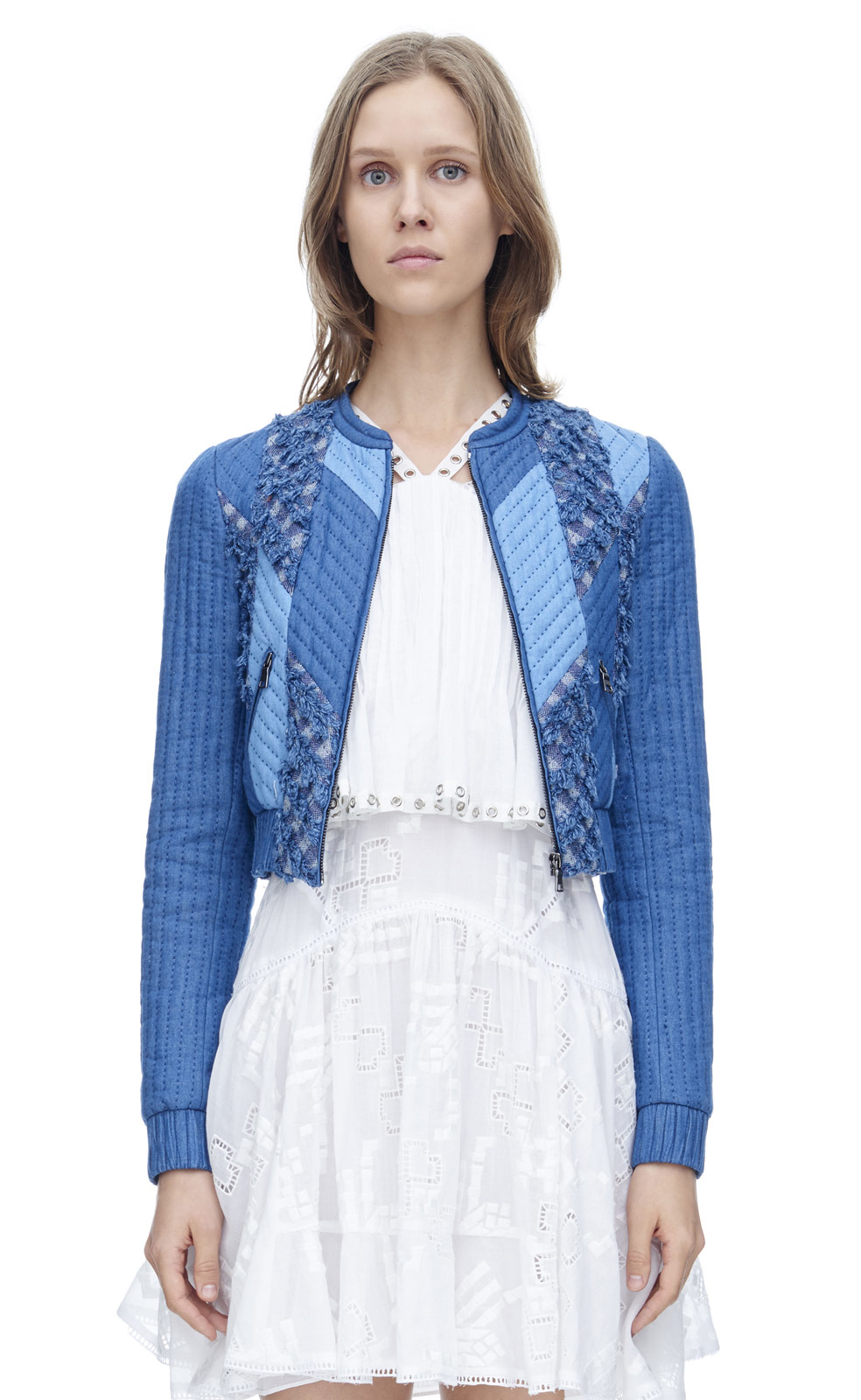 Rebecca taylor patch chambray jacket in blue lyst for Chambray 7 s