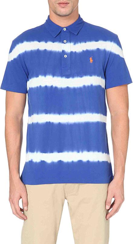 Ralph Lauren Tie Dye Stripe Polo Shirt In Blue For Men